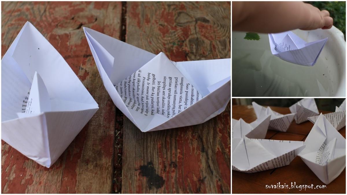 Popierinis laivelis su vaikais