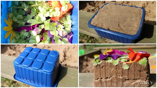 gėlių ir smėlio tortas